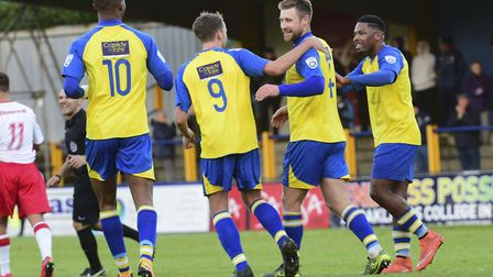 St Albans City celebrate their opening goal. Picture: BOB WALKLEY