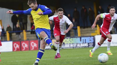 David Noble fires St Albans City ahead from the penalty spot. Picture: BOB WALKLEY