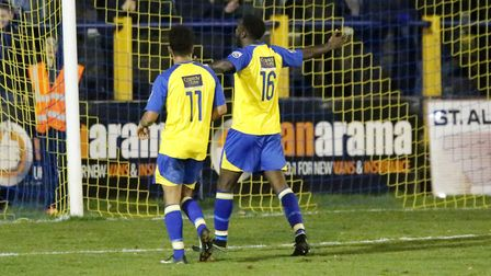 Rhys Murrell-Williamson celebrates after putting the Saints into the hat for the next round of the F