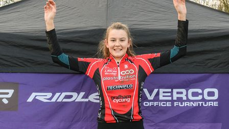 Cecilia Hime celebrates her Central League success. Picture: KEITH PERRY