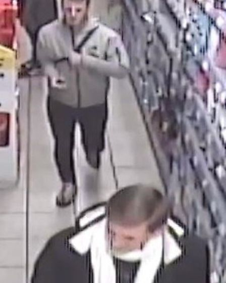 Police would like to speak to these men as they may have information about the alcohol theft at Roys