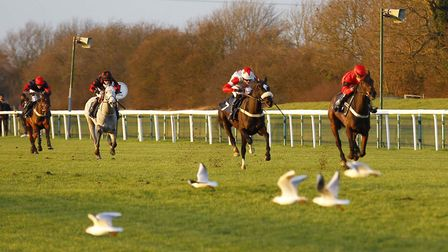 French Crusader and jockey Alan Doyle power clear in the closing bumper at Huntingdon Racecourse las