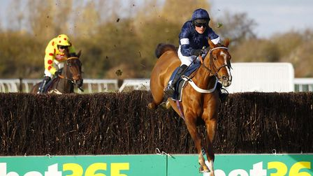 Casablance Mix and jockey Ned Curtis clear the final fence as they win the mares novices' chase at H