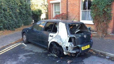 The car which caught fire on Clifton Street.