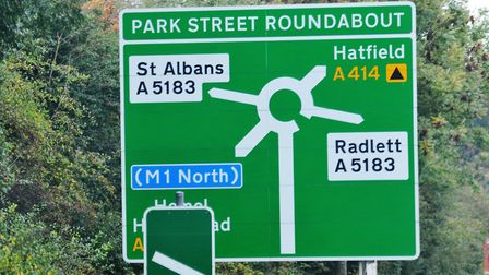 The A414 Park Street roundabout