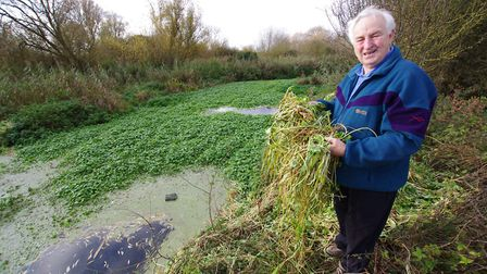 Tony Elliott, chairman of Offord and Buckden Angling Society, is having problems with floating penny
