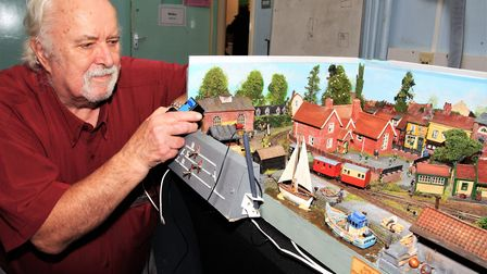 "Tony Fookes displays Peter Rednall's ""009"" gauge layout of a fictional narrow gauge railway in Suffo"