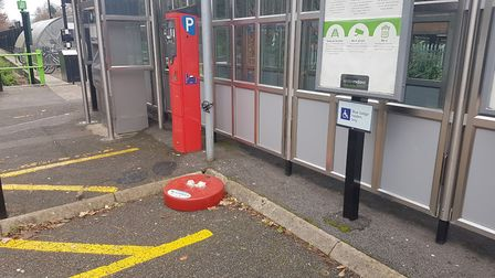 What was left of the Nutcracker Trail soldier at Abbey station after BID removed the vandalised stat
