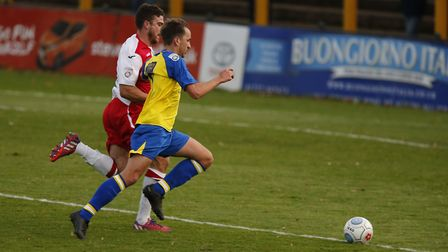 Sam Merson looks to stretch the Poole defence. Picture: LEIGH PAGE