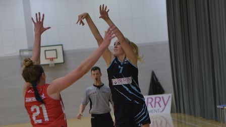 Tia Freeman shoots as Oaklands Wolves battle Team Northumbria in the WBBL Cup. Picture: LELLO AMETRA