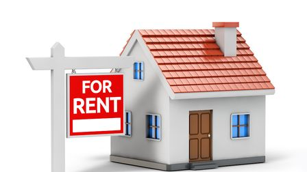 Single house for rent isolated white background with clipping path