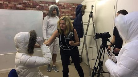 Filming of this year's St Albans Businesses Christmas video - Sue Wybrow directs East 17.