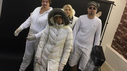 Filming of this year's St Albans Businesses Christmas video - East 17.