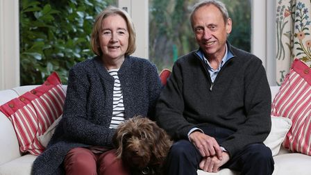 Gaye Christy, with her husband Tim and dog Poppy, has now been receiving nivolumab since July which