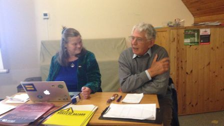 Left to right: Dr Johnson and David Leigh, chairperson of St.Albans CND. Picture: David Leigh