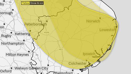 Ice and wintery showers could affect parts of Cambridgeshire over the next 24 hours. Picture: MET OF