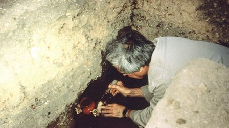 Gerald Reeve unearthing the finds in his back garden. Picture: CONTRIBUTED