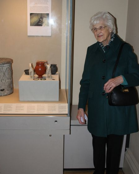 Dorothy Reeve with the collection at the British Museum. Picture: CONTRIBUTED