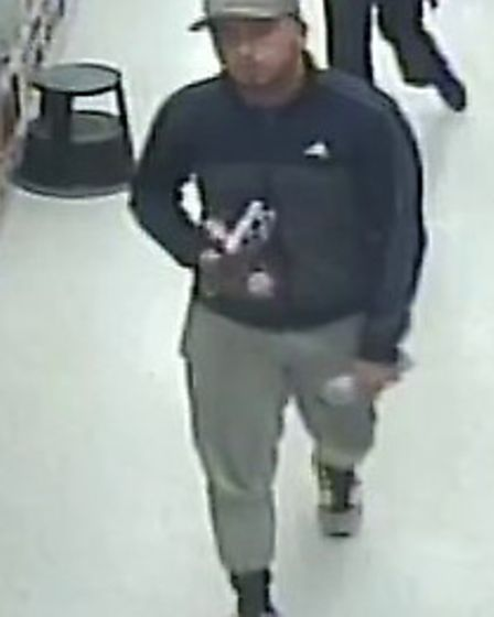 The man police would like to speak to in connection with a theft in Sawtry. Picture: CAMBS POLICE