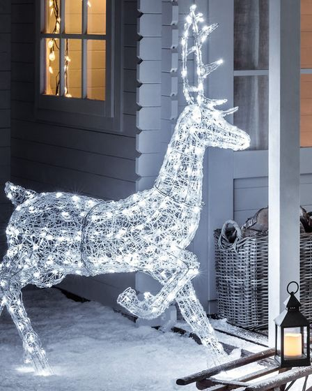 Prancing on the porch: this spun stag Reindeer figure from Lights4fun introduces a magical white glo