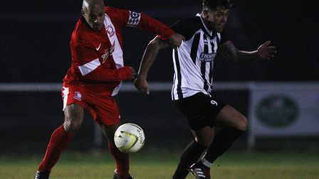 Colney Heath FC V Wembley - Reece Cameon in action for Colney Heath.Picture: Karyn Haddon.