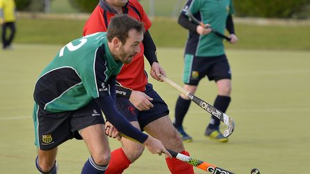 Mike Jenner (left) hit one of the goals as St Ives 1sts destroyed Dereham 2nds. Picture: DUNCAN LAMO