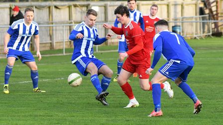 Action from Wisbech Town's 3-3 draw with Eynesbury Rovers. Photo: Ian Carter