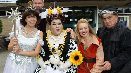 The cast of Jack and the Beanstalk outside the Eric Morecambe Theatre. The Fairy Sally James, Simple