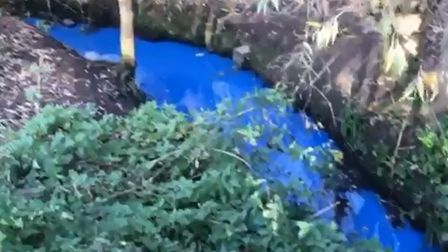 The stream has been turning bright blue in recent days. Picture: CONTRIBUTED.