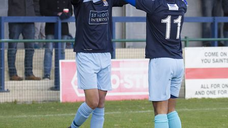 St Neots Town goalscorers Lewis Irwin and Dion Sembie-Ferris celebrate during the victory against Me