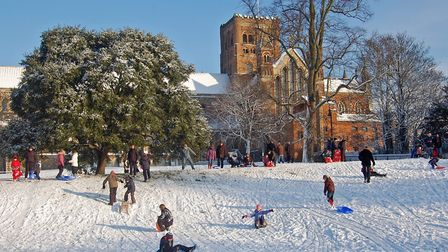 St Albans Cathedral Abbey Orcard in the snow