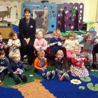 Royston Tesco Extra community champion Mandy Jinkerson with children from Litlington Pre-School. Pic