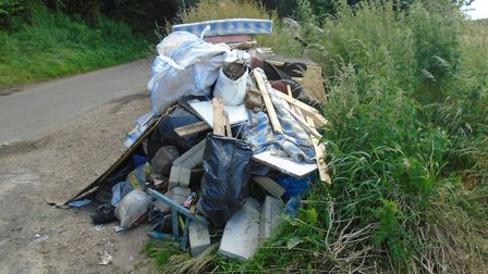 A fly-tip in St Albans district. Photo: St Albans council.
