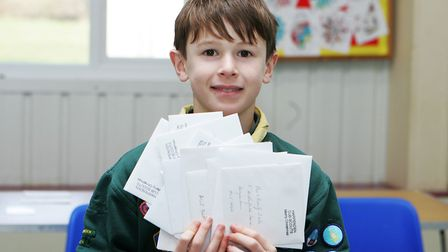 Scouting Card Delivery - Dylan Winfield, 10, enjoys the scouting card delivery day.Picture: Karyn