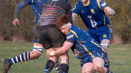 Josh Meadows makes a tackle during St Ives' win against Leicester Forest. Picture: PAUL COX