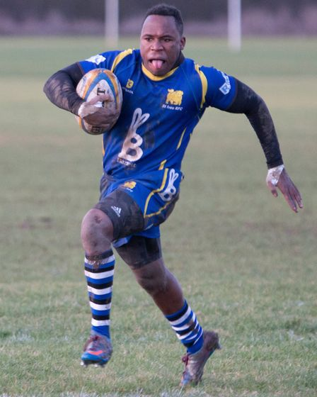 Albiee Tayedzerwa touched down for two tries in St Ives' win against Leicester Forest. Pictiure PAUL