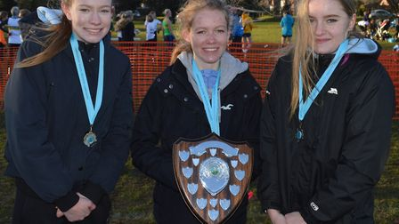 The Hunts AC Under 17 Women team are, from the left, Katie Wright, Shannon Flockhart and Nicole Cove