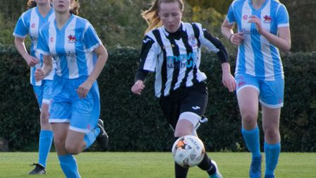 Katherine Speed opened the scoring for St Ives Town Ladies. Picture: JEFF CHAPMAN