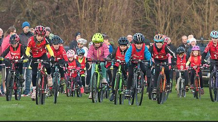 Riders in the Under 10 race at the second round of the Muddy Monsters North Cambs League at Hinching