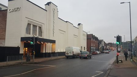 The Odyssey cinema and the crossing which is being moved further towards the city centre.