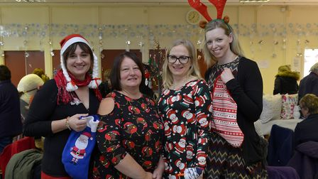 Penny Lusha, Anne Grove, Justyna Sherley and Hayley Hills at the Little Paxton Christmas Fayre. Pict