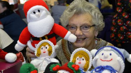 June Griffin with her hand made Christmas toys at the Little Paxton Christmas Fayre. Picture: DUNCAN