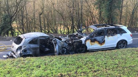 The crash on B653 in Harpenden. Photo: Beds, Cambs and Herts Roads Policing Unit.