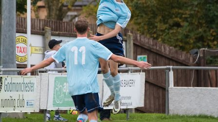 Matty Allan (celebrating) and Jack Chandler (number 11) both scored in Godmanchester Rovers' win aga