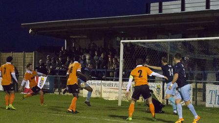 Nabil Shariff scores St Neots Town's late leveller against Stratford. Picture: CLAIRE HOWES
