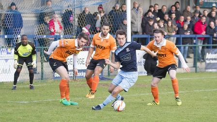 Dylan Williams hit St Neots Town's first equaliser against Stratford. Picture: CLAIRE HOWES