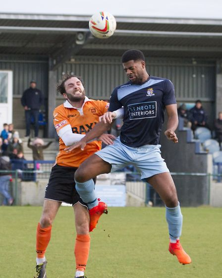 Kyran Wiltshire had a hand in St Neots Town's first goal against Stratford. Picture: CLAIRE HOWES
