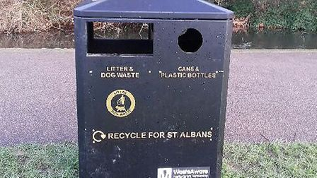 A new recycling bin in Verulamium Park. Picture: SADC