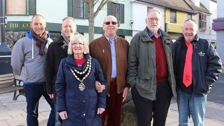 Royston town mayor Vera Swallow with her husband Colin, third from left, and his fellow slimmers Tom