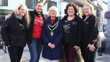 Royston town mayor Vera Swallow with Slimming World consultants Angela Anderson, Sandra Lloyd, Lesle